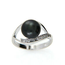 Cultured Freshwater Black Pearl Ring, 9-10mm Pearl in 925 Sterling Silver