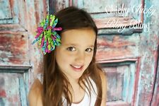 "Girls kids 5"" grosgrain corkscrew boutique Hair Bows clips red pink yellow blue"