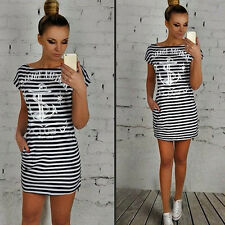 Popular Women's Summer Anchor Letter Print Striped Short Sleeve Boat Neck Dress
