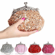 Women Full Sequins Mesh Beaded Handbag Wedding Party Clutch Purse Evening Bag