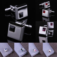 Men's Wedding Business Silver Stainless Steel Shirt Crystal Cufflinks Fashion