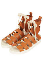 Topshop by Unique Leather Gladiator Shoes Sandals UK 4 5 6 7 EU 37 38 39 40 BNIB