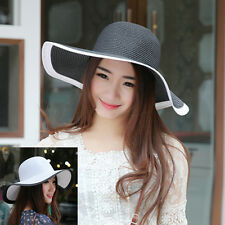 Womens Cap Large Brim Floppy Fold Hat Summer Beach Sun Straw Beach Sunhat New