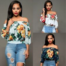 Women's Sexy Off Shoulder Floral Summer Blouse Lady Casual Top Loose T Shirt NEW