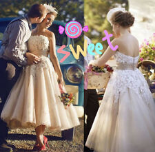 New Custom Made Tea Length Bridal Gowns Short Lace Wedding Dresses Formal Party