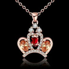18K Rose Gold Plated GP Colorful Crown Crystal Zircon Pendant Necklace fashion