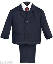 New Navy Blue Pinstripe Formal Suit Baby Toddler Boys Husky Size 6M-10H USA