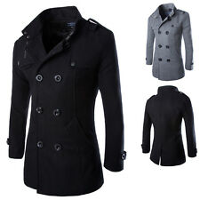 Mens Wool Coat Double Breasted Peacoat Long Jacket Winter Formal Dress Parka TOP