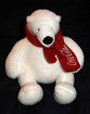 "2013 Coca-Cola Coke 7"" Polar Bear Plush Stuffed Toy Red Scarf Embroidered Logo"