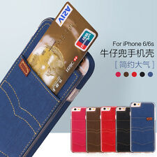 Fashion Jeans Denim+TPU Card Slot Back Case Cover for iPhone/Samsung