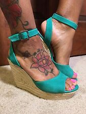 NWT-GIANNI BINI GREEN LEATHER ANKLE STRAP WEDGES (Sz Varies) Nice!!