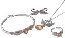 FASHIONBULKSALE AMBER/CLEAR CRYSTAL SILVER PLATED JEWELLERY SET XMAS GIFT TV13