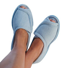 Clinic Comfort Terry Cloth Slippers - Light Blue - Wide Width