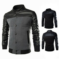 Splicing Style Slim Fit Hooded Men's Black Motorcycle PU Leather Jacket Coat New