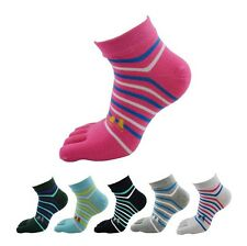 6Pairs Wholesale colorful socks Women's Girl Color stripes five finger Toe Socks