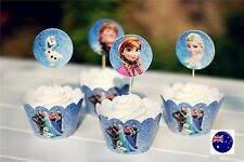 Girl Frozen Elsa Anna Birthday Party 12 Cupcake cake Muffins Cases Wrapper Set