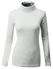 Doublju Womens Long Sleeve Basic Solid Fitted Turtleneck Top Gray