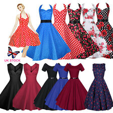 UK Womens Vintage 1950'S Retro Rockabilly Evening Party Skater Swing Tea Dresses