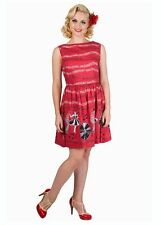 New Kitsch Vintage Style 1950s Red Jive Record Print Dress Rockabilly 50s