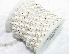 10mm White Round Pearl Rhinestone Chain Trims Sewing Costume Applique LZ17