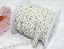 10mm Ivory Pearl Rhinestone Chain Trims Costume Applique Sewing Craft LZ12