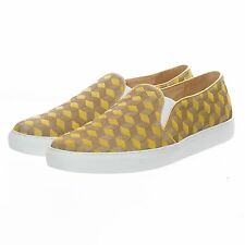 Handmade Yellow Men Leather Loafers Fashion Sneakers Horsehair Shoes Suede Flats