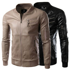 Stylish Mens PU Leather Slim Fit Collar Motorcycle Biker Jacket Coat Outwear
