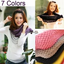 EA77 Girls Corn Knited Hood Neck Circle Cowl Wool Scarf Shawl Wrap Loop Warm