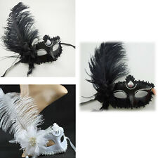 Sexy Somen Venetian Ostrich Feather Masquerade Costume Porm Wedding Party Mask