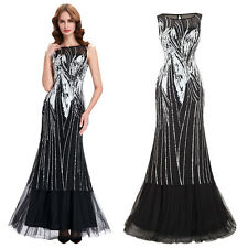 New Womens Sequins Bridesmaid Ball Gown Evening Cocktail Party Dress Long Prom