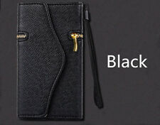 Black Clutch/Wristlet Flip Case Wallet Cover + Zipper For iPhone 6/6s PLUS 5.5""