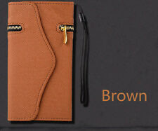 Brown Leather Wristlet Pouch Case Wallet Cover + Zipper For iPhone 6/6s