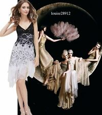New 1920s gatsby vintage flapper lace sequin black white party dress BNWT
