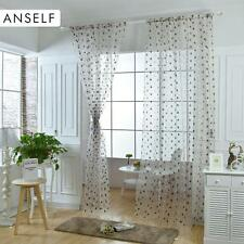 2pcs Bird Nest Sheer Embroidered Voile Tulle Sheer Window Panel For Bedroom P3M6