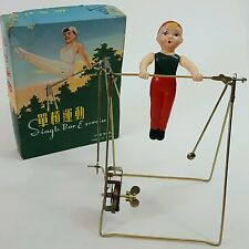 Vintage Shanghai red China tin toy MS014 Gymnast single bar exercise