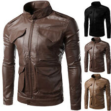 Stylish Slim Fit Men's Stand Collar Motorcycle Biker PU Leather Jacket Coat New
