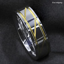 Silver Tungsten Carbide Ring Infinity 18K gold inlay Wedding Band Men's Jewelry