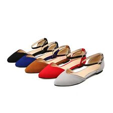 Womens Flat Pointy Toe Faux Suede Buckle Strap Boat Casual Pumps Shoes All US Sz