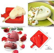 Silicone Ice Cream Popsicle Maker Cake Jelly Lolly Frozen Mold Tray +20 Stick