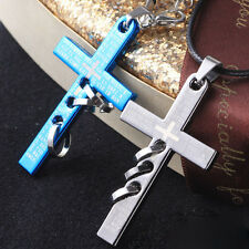 Men's Blue Black Silver Titanium Steel Cross Pendant Necklace Chain Jewelry Gift