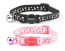 Ancol Dotty Cat Collar, Pink or Black Polka Dot, BreakAway Safety Buckle & Bell