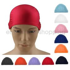 Adults Womens Mens Caps Swim Cap Pool Swimming Hat Long Hair Red Blue Pink Gray