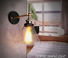 VINTAGE RETRO WALL LIGHT Metal Glass Copper Base Sconce Adjustable Lamp Fixtures