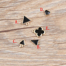 Enamel Gold Tone Black Heart Clover Triangle Charms Pendants DIY Jewelry Making