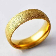 Womens Mens Stainless Steel Ring Yellow Gold Filled Wedding band Ring SZ 7-11