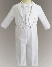 Boys White Christening Baptism Tuxedo Suit Outfit 6pc Set Jacket Vest Sz 0-2T