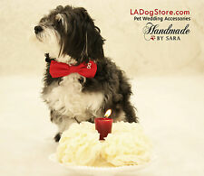Red Dog Bow tie Collar Pet accessory Dog lovers Leather collar Heart Handmade