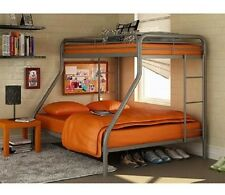 Futon Bunk Bed Loft Twin-Over-Full Metal College Ladder Metal Over Kids Silver