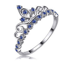 STERLING SILVER 925 Queen Crown Princess Tiara Sapphire Ring