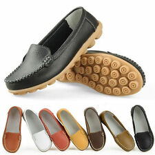 Ladies Womens New Leather Flat Slip On Walking Pumps Moccasin Loafers Shoes Size